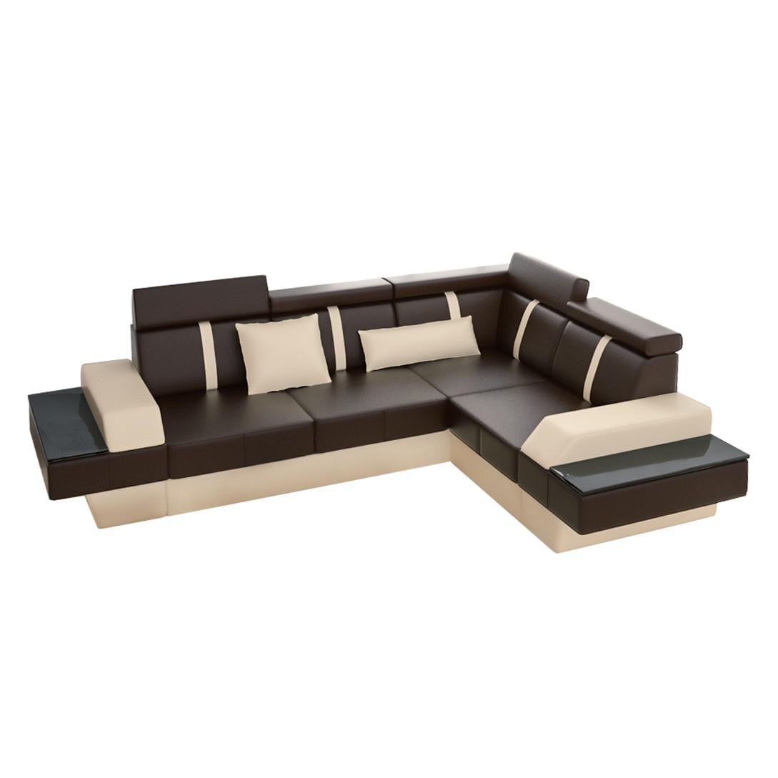 ecksofa lemansii echtleder l form braun beige. Black Bedroom Furniture Sets. Home Design Ideas