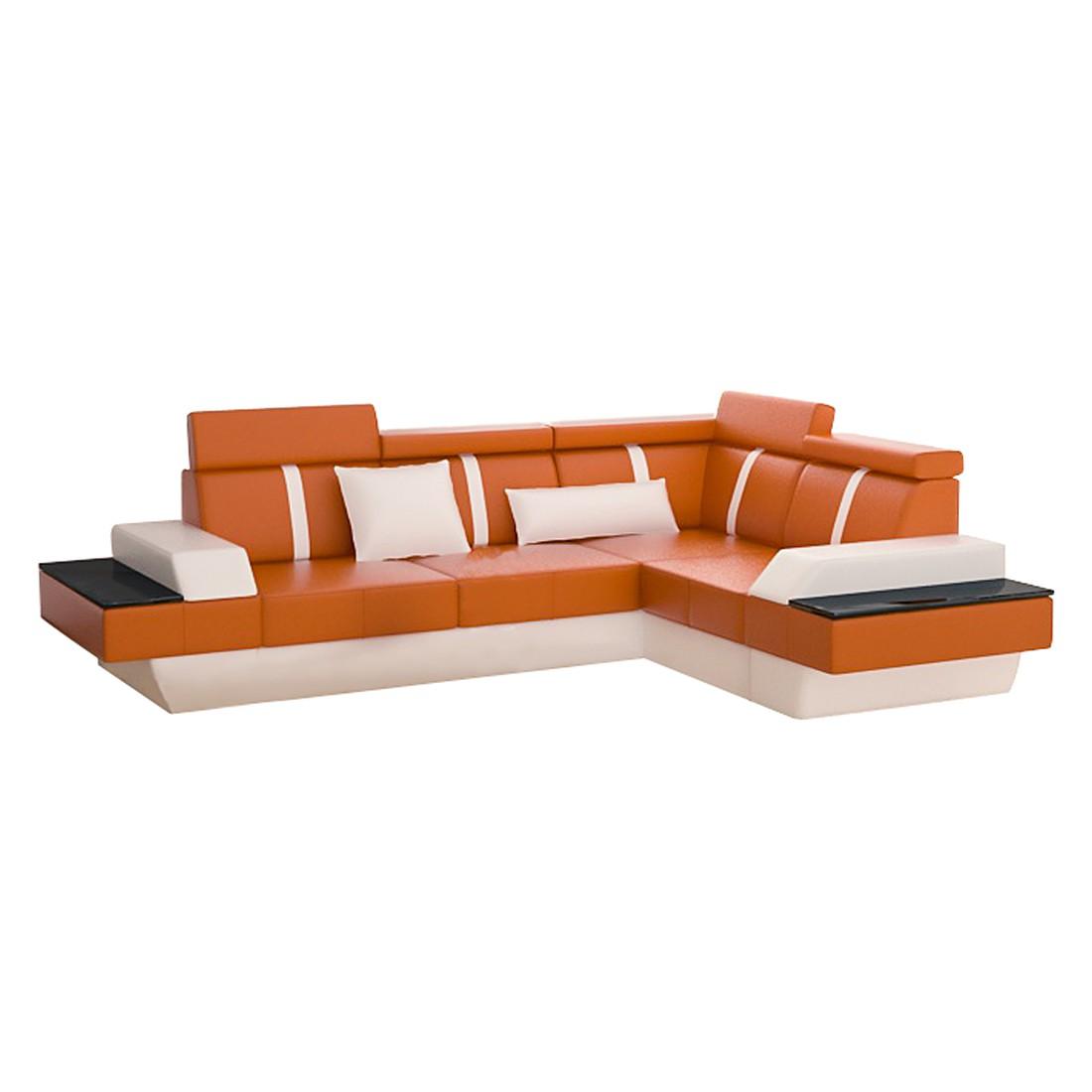 Ecksofa LeMansII – Kunstleder, L-Form, Orange/Weiß – Ausführung: Lange Seite Links, home24 bestellen