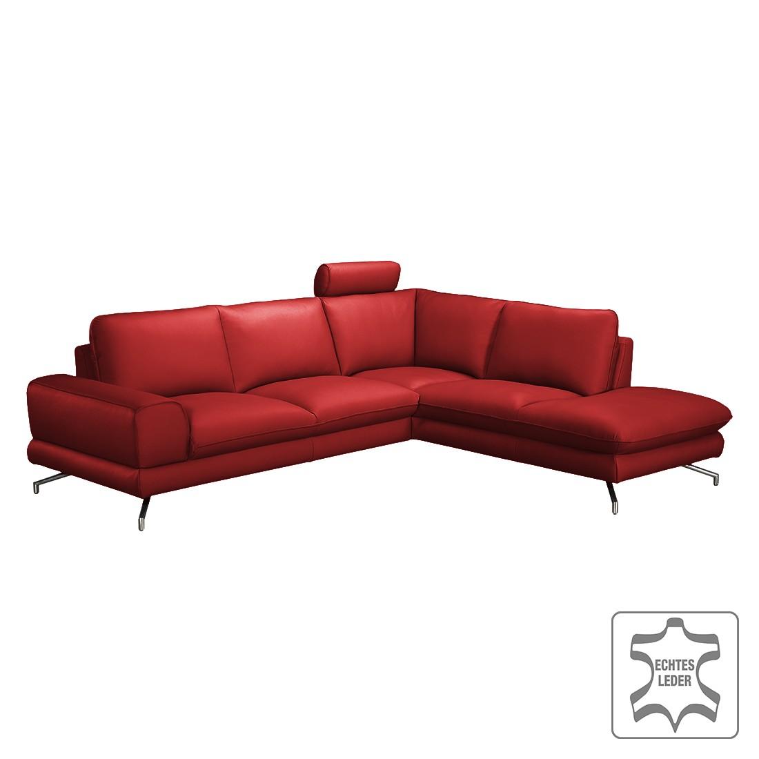 ecksofa lennard echtleder kaminrot ottomane davorstehend rechts ohne kopfst tze loftscape. Black Bedroom Furniture Sets. Home Design Ideas