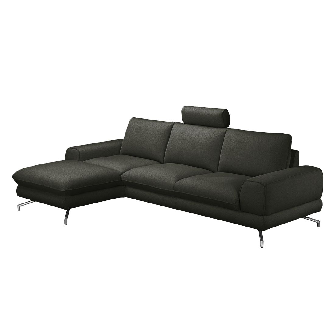 ecksofa lennard strukturstoff anthrazit longchair davorstehend links ohne kopfst tze. Black Bedroom Furniture Sets. Home Design Ideas