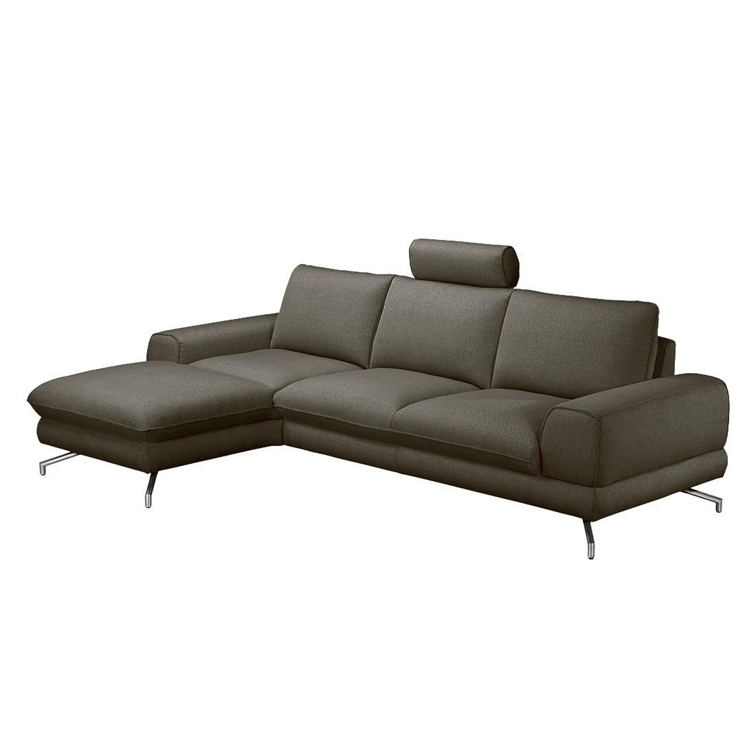 Ecksofa Lennard – Strukturstoff Grau-Braun – Longchair davorstehend links – Ohne Kopfstütze, loftscape jetzt kaufen