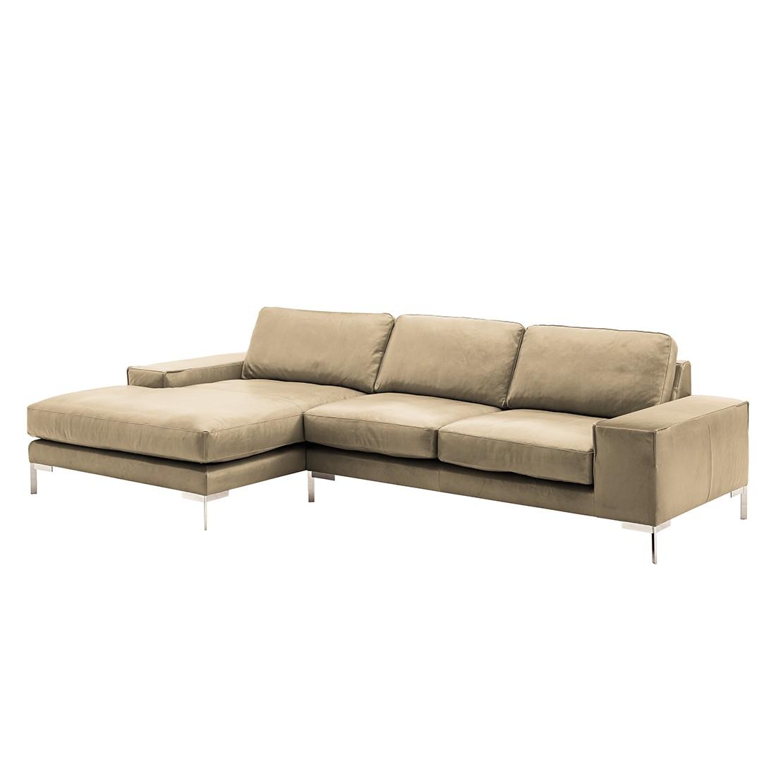 ecksofa lenox i echtleder ohne kopfst tze longchair ottomane davorstehend links taupe. Black Bedroom Furniture Sets. Home Design Ideas