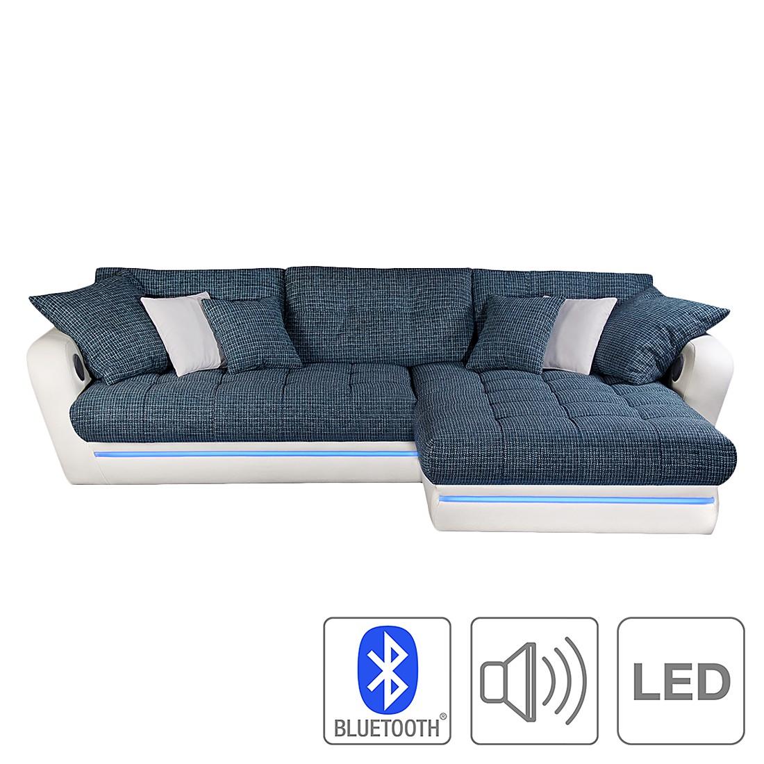eek a ecksofa lucilia inkl beleuchtung kunstleder wei strukturstoff dunkelblau. Black Bedroom Furniture Sets. Home Design Ideas