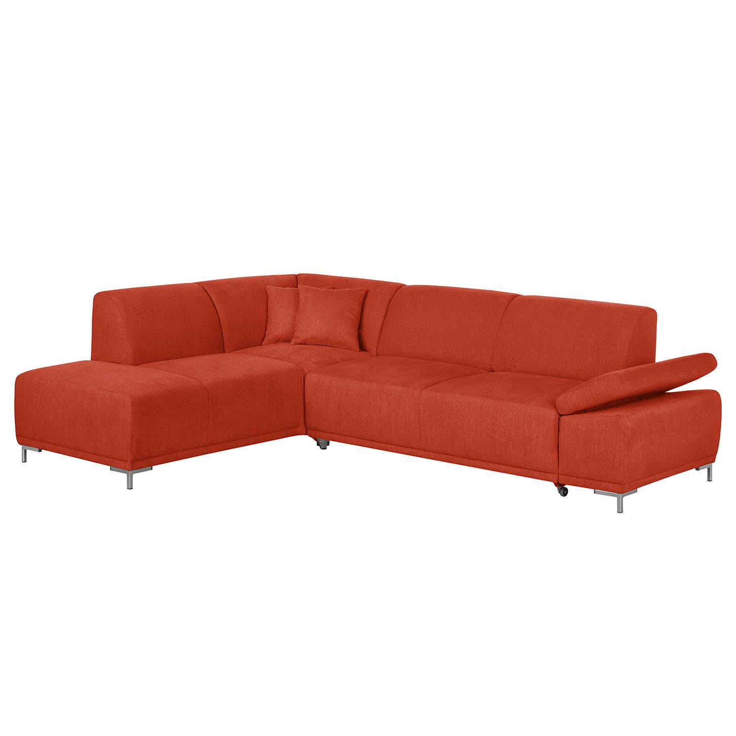 Hoekbank Maradi - geweven stof - longchair vooraanzicht links - Verlengbaar zitoppervlak met zitdiepte verstelling - Baksteen rood, roomscape