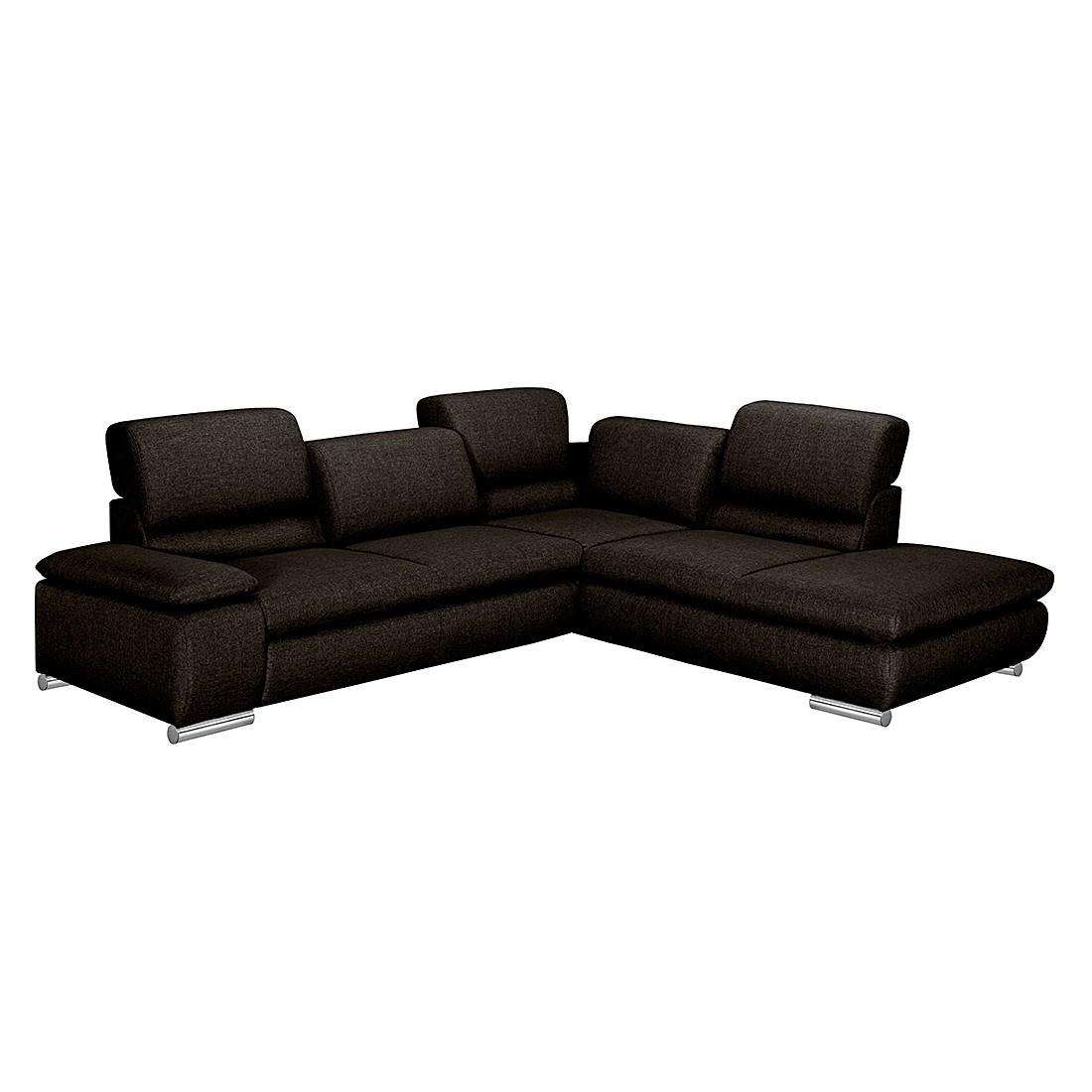 ecksofa masca webstoff braun schwarz ottomane davorstehend rechts mit schlaffunktion. Black Bedroom Furniture Sets. Home Design Ideas