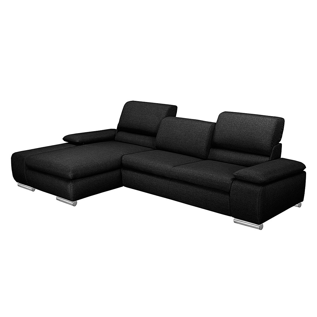 Ecksofa Masca – Webstoff Schwarz – Longchair davorstehend links – Mit Schlaffunktion, loftscape jetzt bestellen