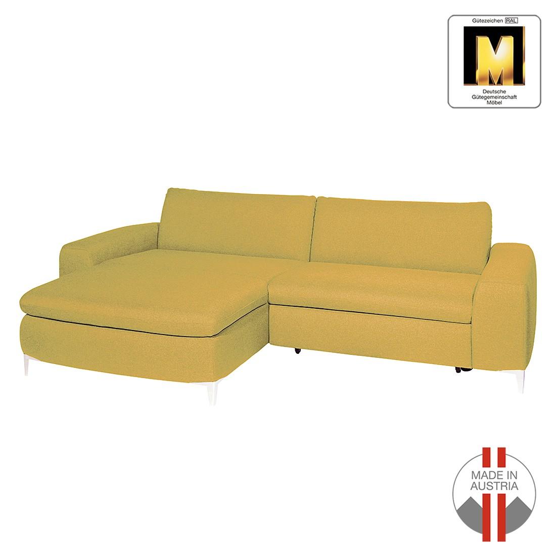 Ecksofa Napoli (mit Schlaffunktion) – Webstoff – Longchair/Ottomane davorstehend links – Senfgelb, ADA premium bestellen