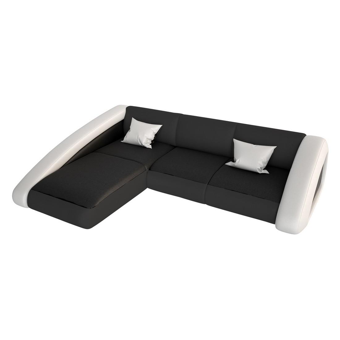 Ecksofa Nassau-L – Kunstleder schwarz, weiß – Recamiere rechts, Innocent günstig kaufen