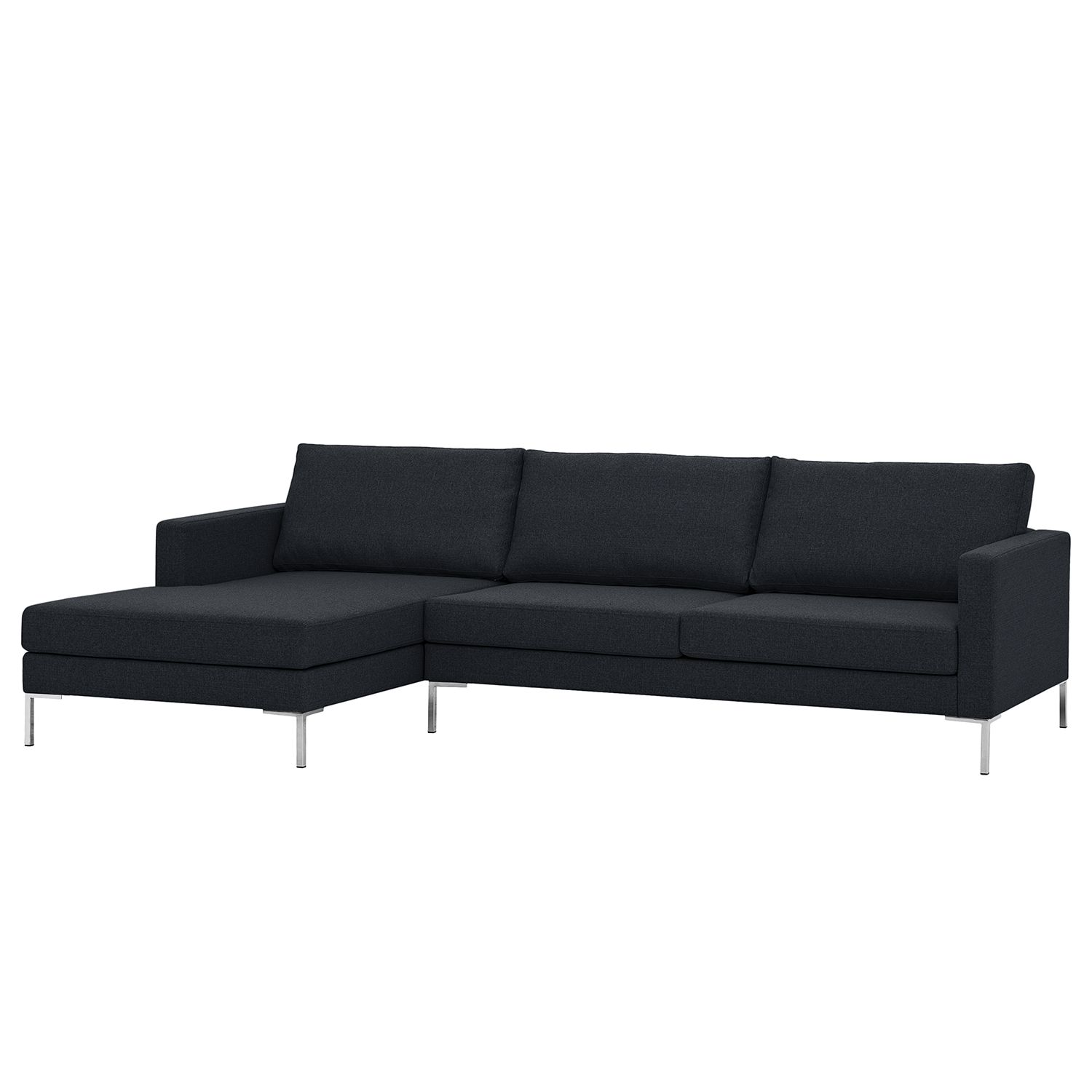 Ecksofa Portobello I - Webstoff - Longchair davorstehend links - Anthrazit - 251 cm, Red Living