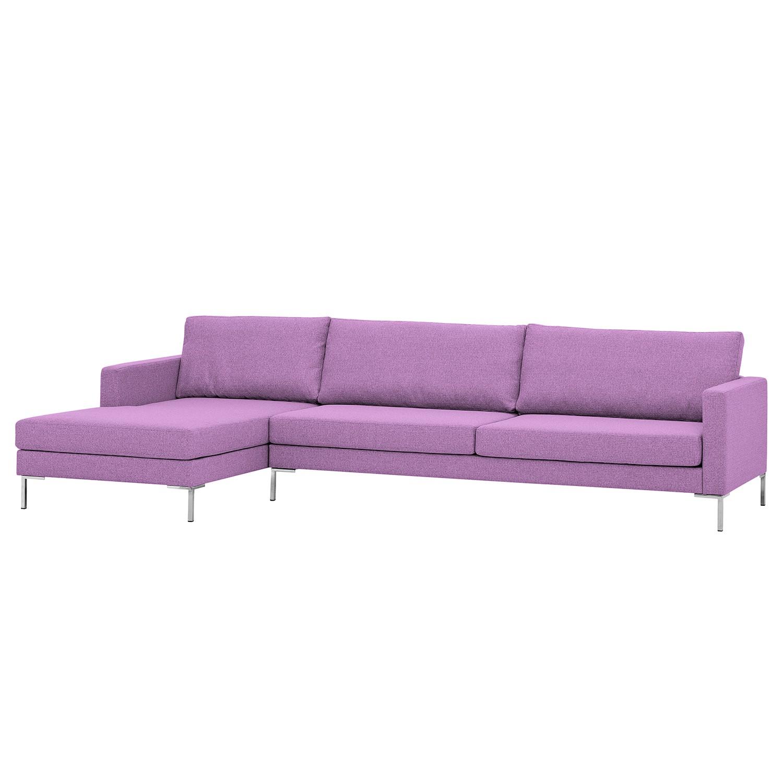 Ecksofa Portobello I - Webstoff - Longchair davorstehend links - Flieder - 293 cm, Red Living