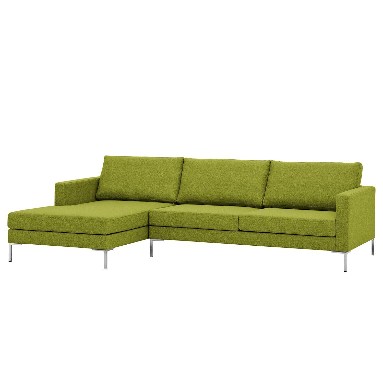 Ecksofa Portobello I - Webstoff - Longchair davorstehend links - Limengrün - 251 cm, Red Living