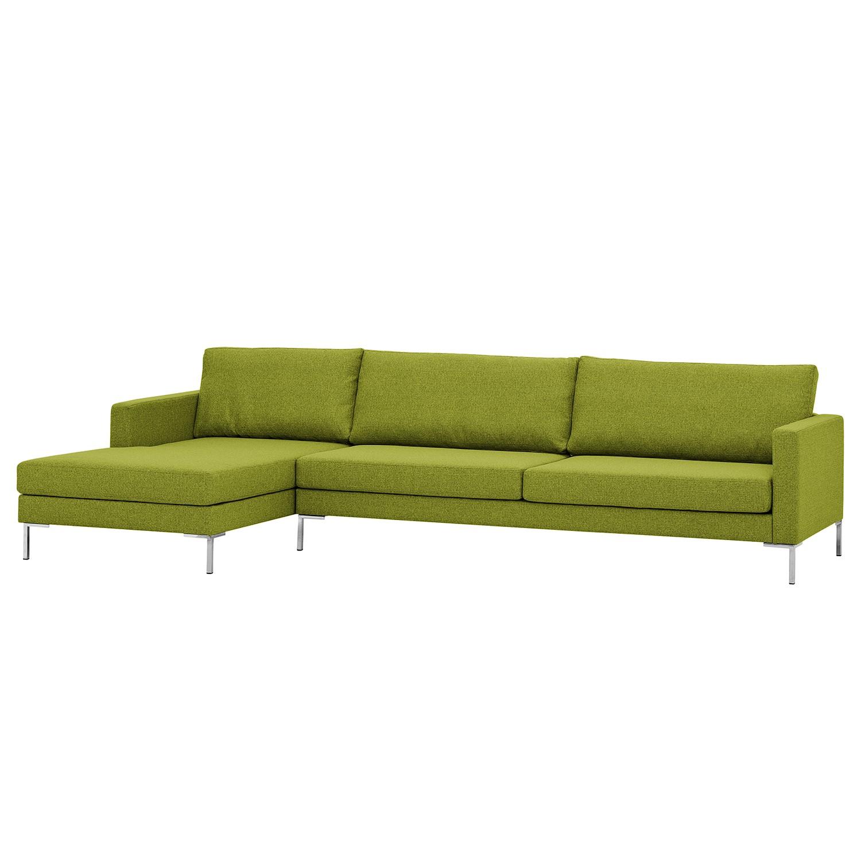 Ecksofa Portobello I - Webstoff - Longchair davorstehend links - Limengrün - 293 cm, Red Living