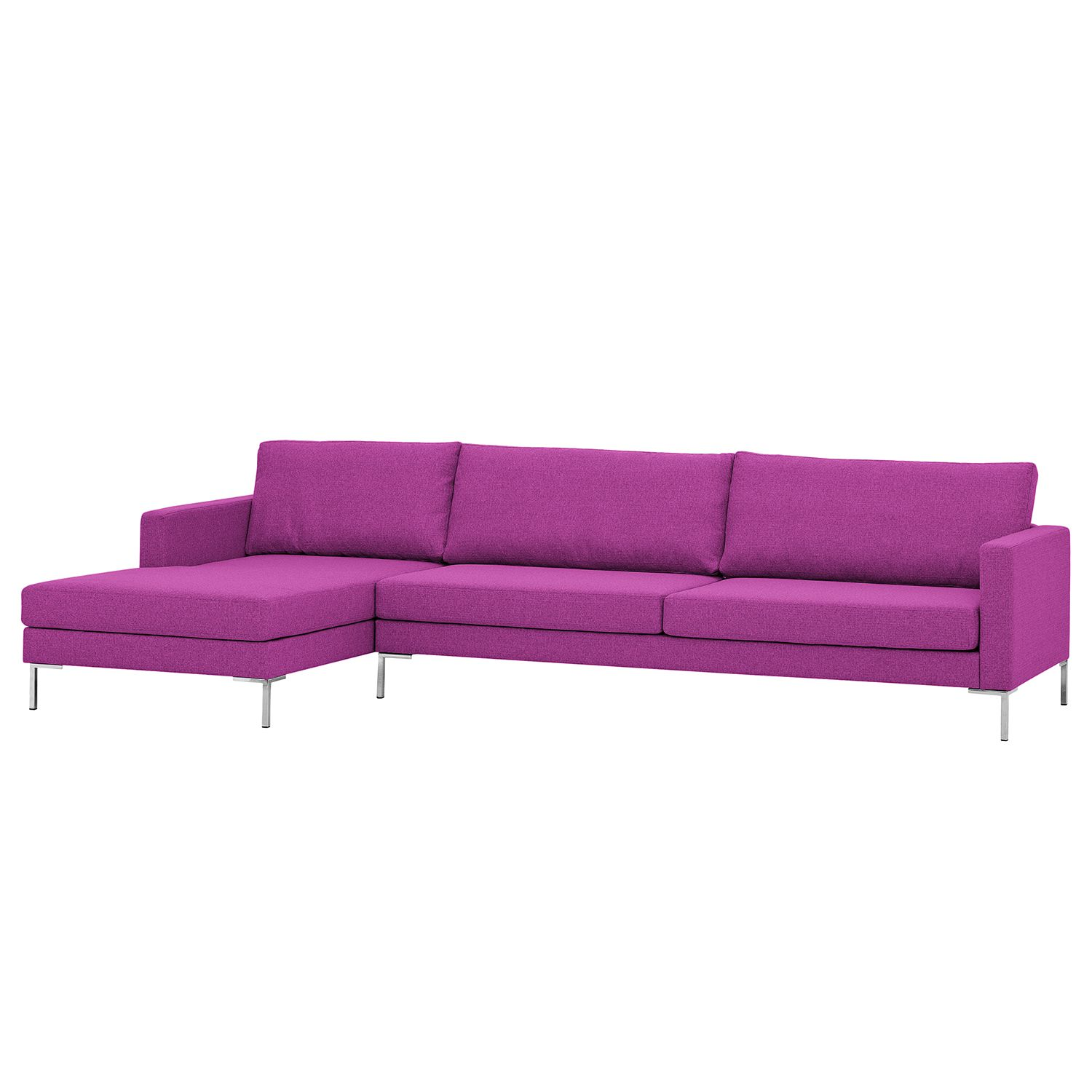Ecksofa Portobello I - Webstoff - Longchair davorstehend links - Pink - 293 cm, Red Living