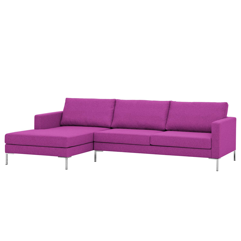 Ecksofa Portobello I - Webstoff - Longchair davorstehend links - Pink - 251 cm, Red Living