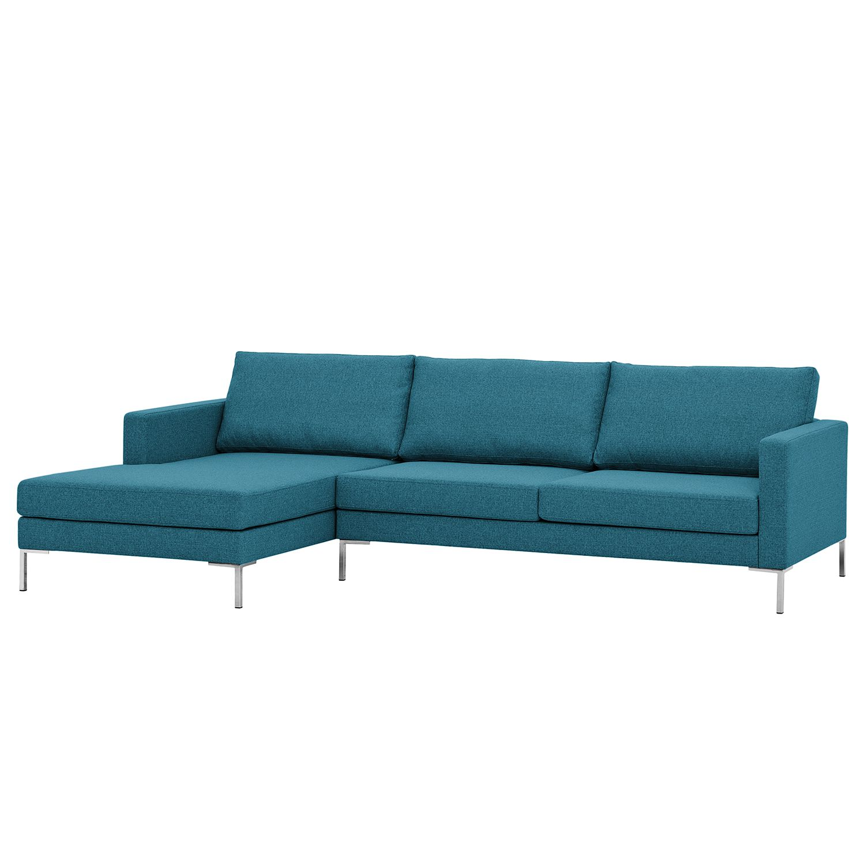 Ecksofa Portobello I - Webstoff - Longchair davorstehend links - Türkis - 251 cm, Red Living