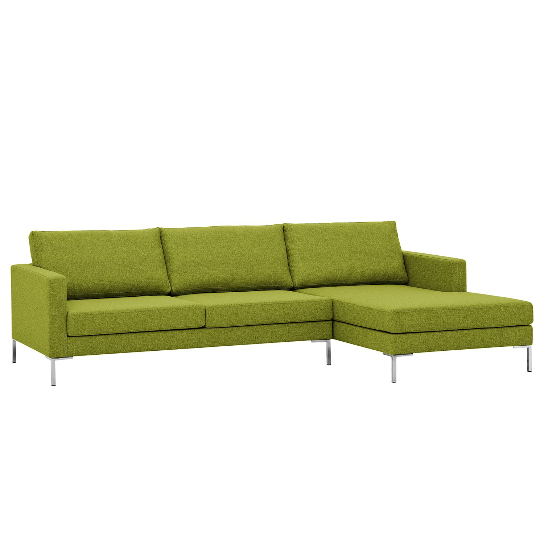 Ecksofa Portobello I - Webstoff - Longchair davorstehend rechts - Limengrün - 251 cm, Red Living