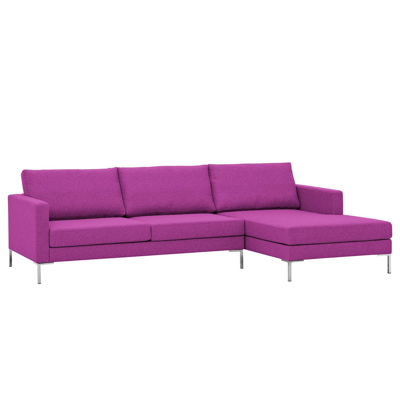 Ecksofa Portobello I - Webstoff - Longchair davorstehend rechts - Pink - 251 cm, Red Living