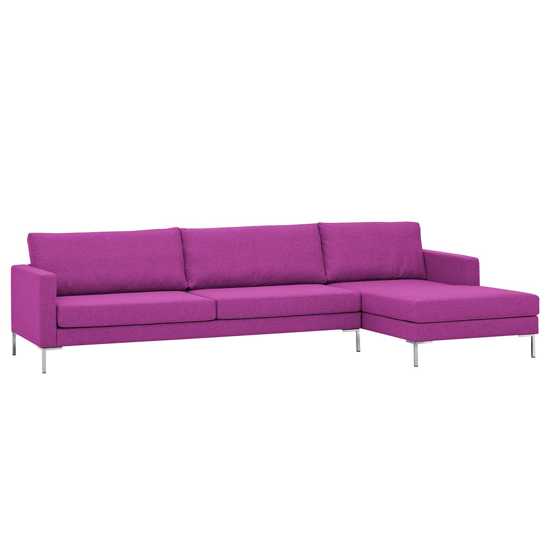 Ecksofa Portobello I - Webstoff - Longchair davorstehend rechts - Pink - 293 cm, Red Living