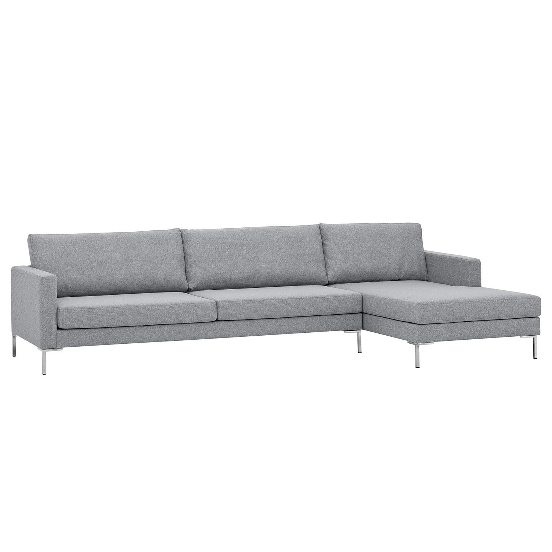 Ecksofa Portobello I - Webstoff - Longchair davorstehend rechts - Silber - 293 cm, Red Living