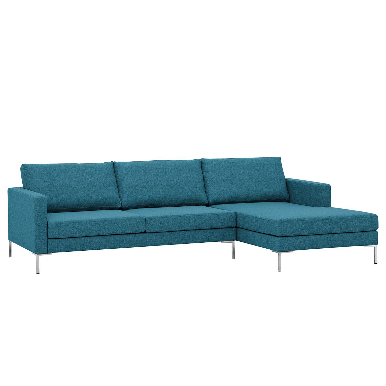 Ecksofa Portobello I - Webstoff - Longchair davorstehend rechts - Türkis - 251 cm, Red Living