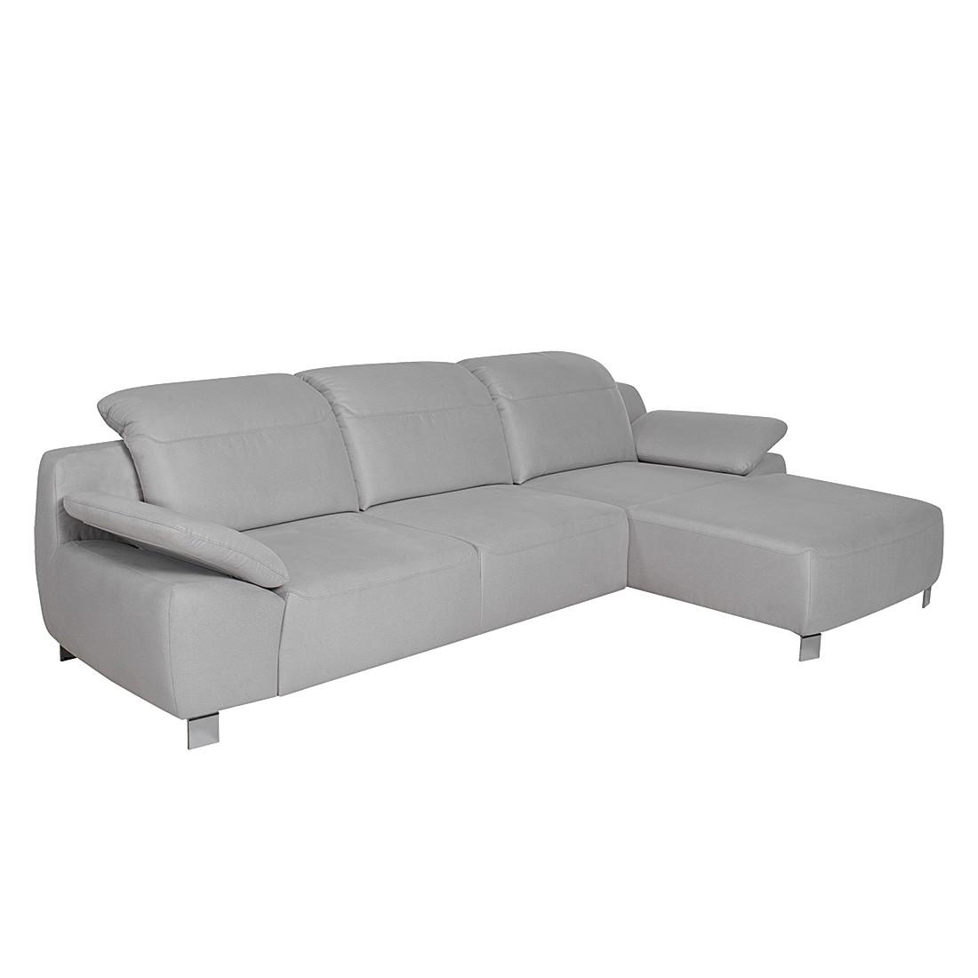 Ecksofa Radena – Microfaser Silber – Longchair davorstehend rechts – Sitzvorzug mit Sitztiefenverstellung, trendline by ADA jetzt bestellen