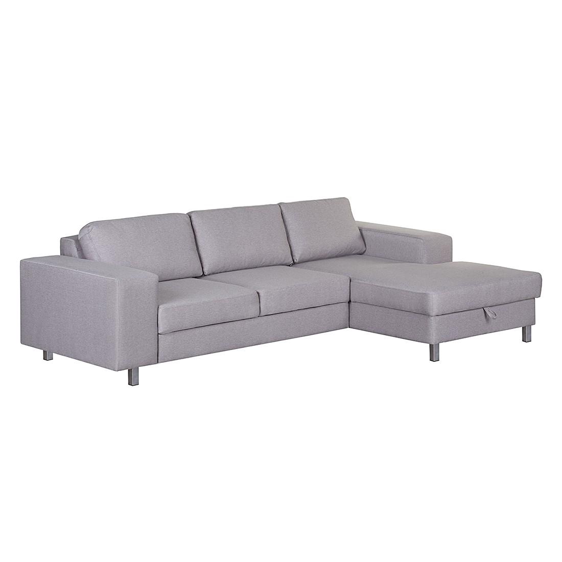 ecksofa recife mit schlaffunktion webstoff longchair ottomane davorstehend rechts grau. Black Bedroom Furniture Sets. Home Design Ideas