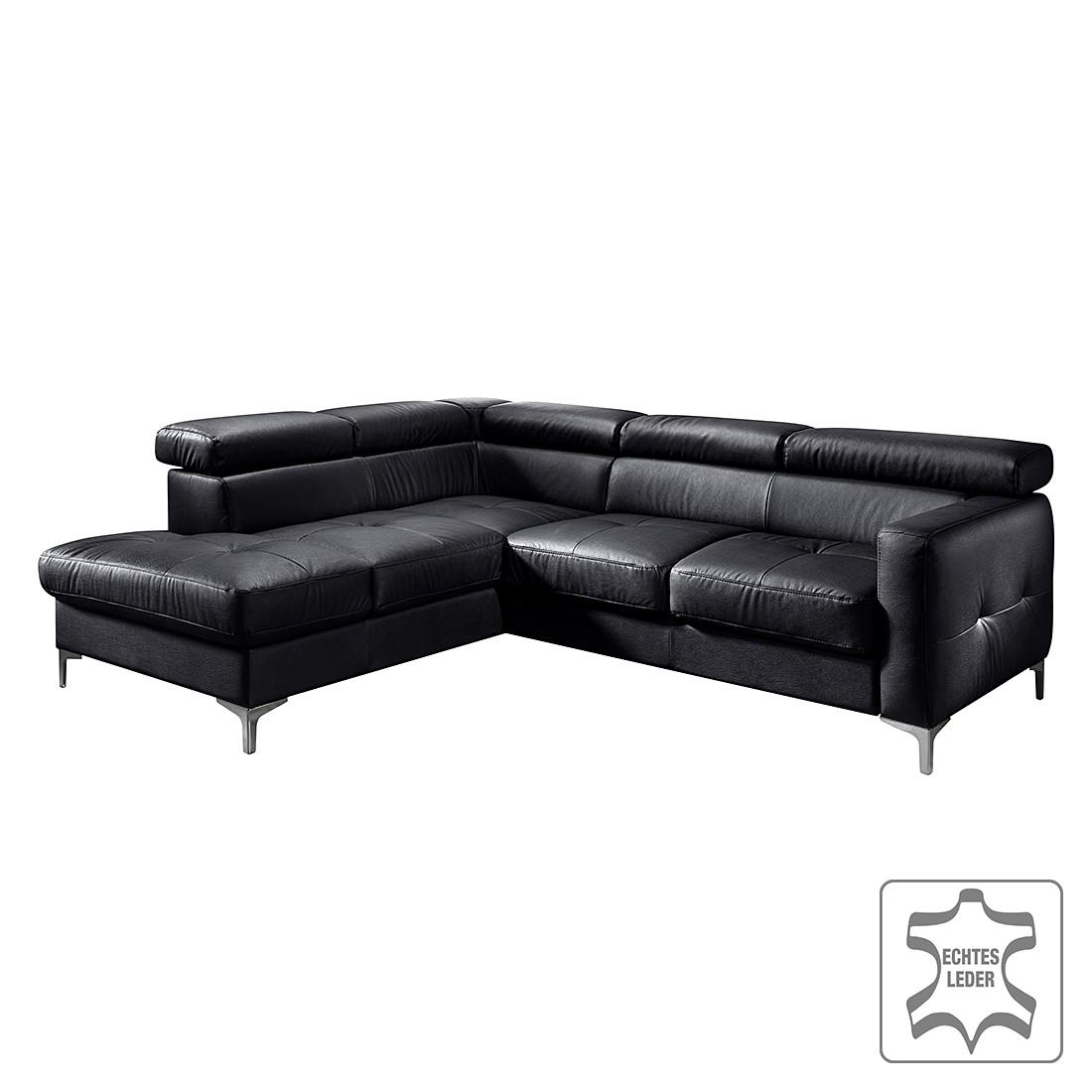 ecksofa eduardo mit schlaffunktion echtleder schwarz ottomane davorstehend links ohne. Black Bedroom Furniture Sets. Home Design Ideas