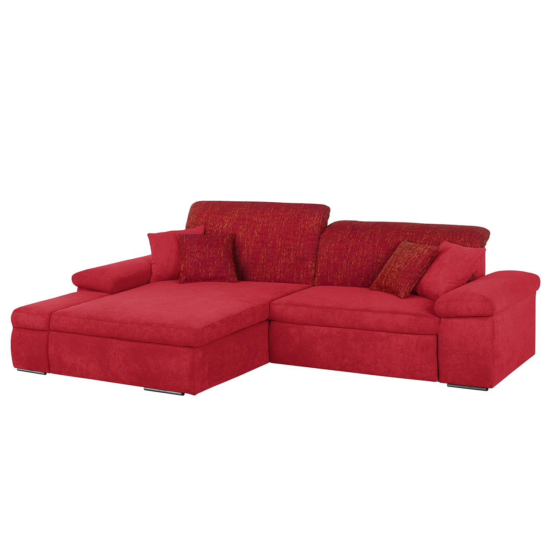 Ecksofa Sare II - Microfaser / Strukturstoff - Rot - Longchair/Ottomane davorstehend links - Mit Schlaffunktion - Mit Bettkasten, Home Design