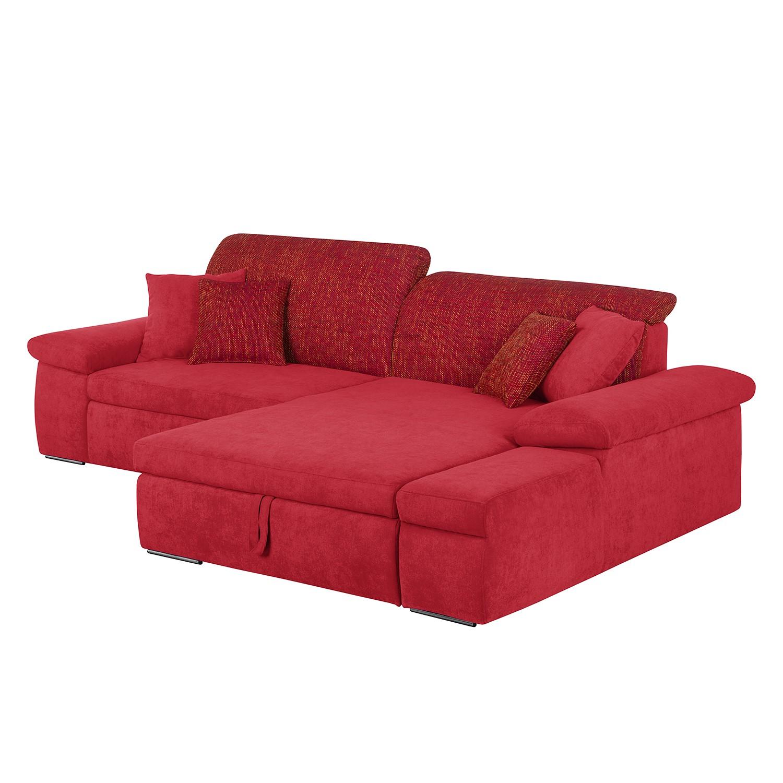 Ecksofa Sare II - Microfaser / Strukturstoff - Rot - Longchair/Ottomane davorstehend rechts - Mit Schlaffunktion - Mit Bettkasten, Home Design