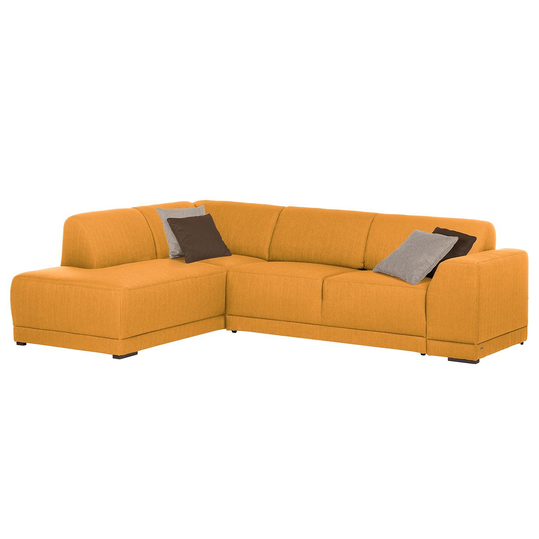 Hoekbank Savja - geweven stof - longchair vooraanzicht links - Verlengbaar zitoppervlak met zitdiepte verstelling - Schuimstof - Mosterdgeel, Home Design