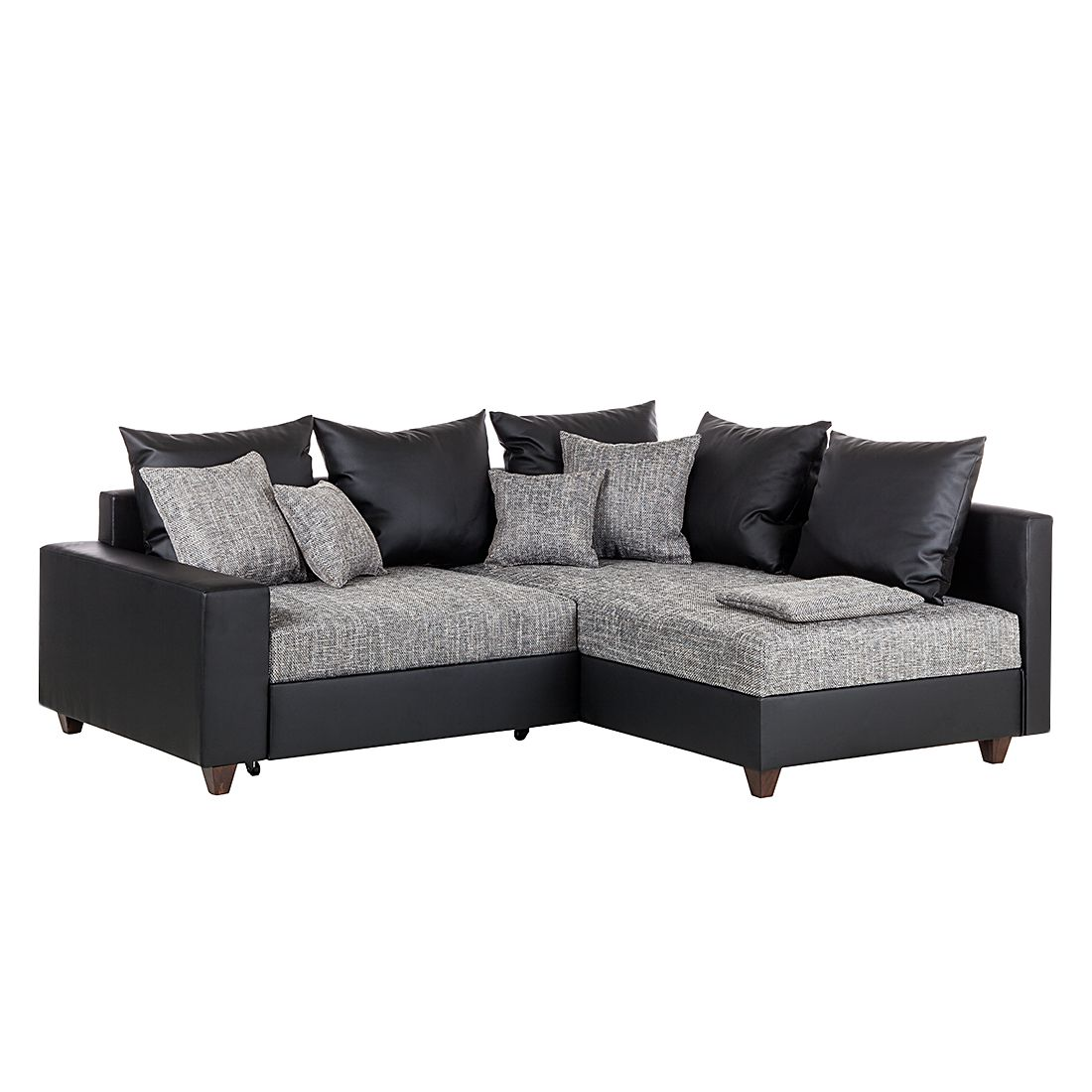 ecksofa savona mit schlaffunktion kunstleder schwarz srukturstoff grau ottomane. Black Bedroom Furniture Sets. Home Design Ideas