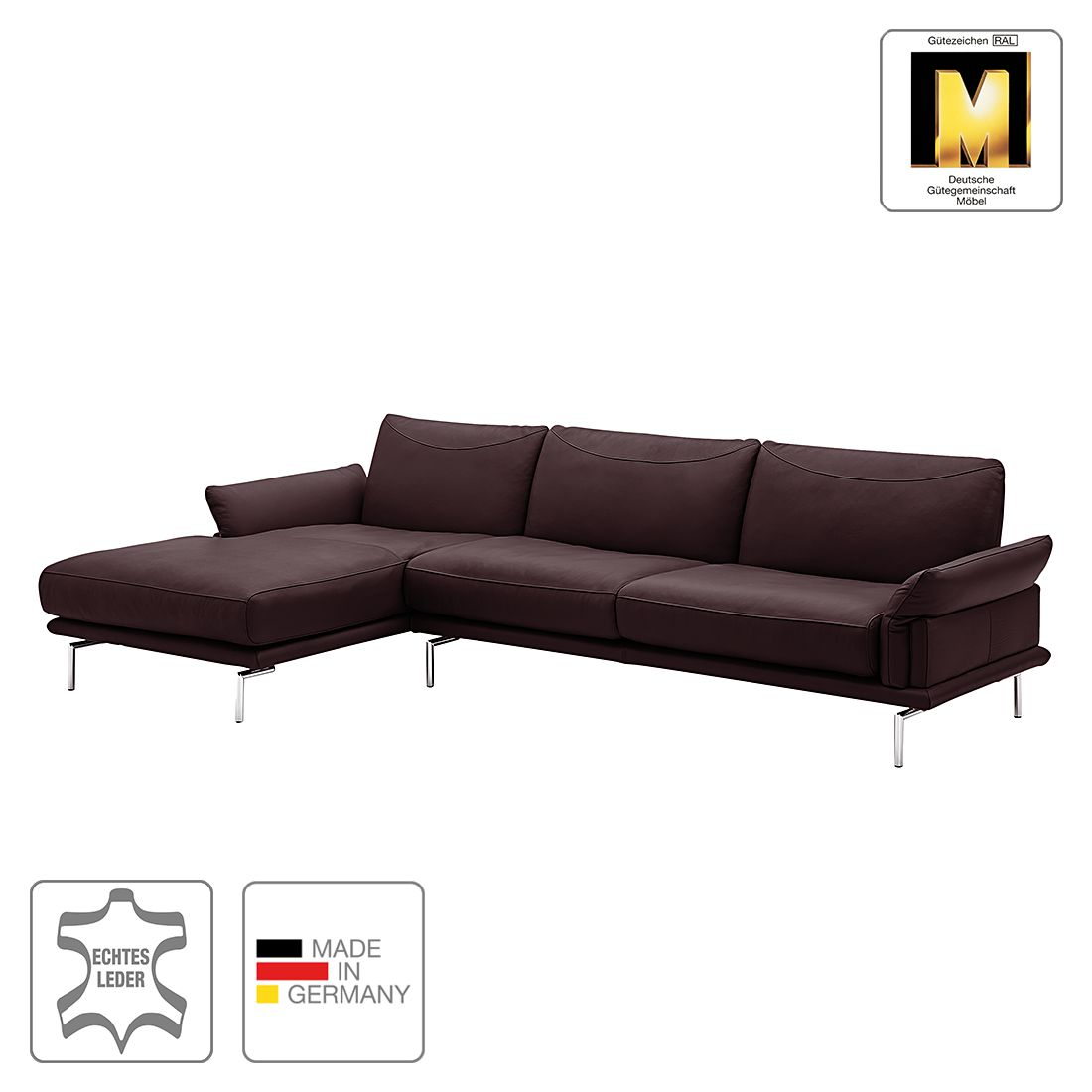 ecksofa seattle ii echtleder longchair ottomane. Black Bedroom Furniture Sets. Home Design Ideas