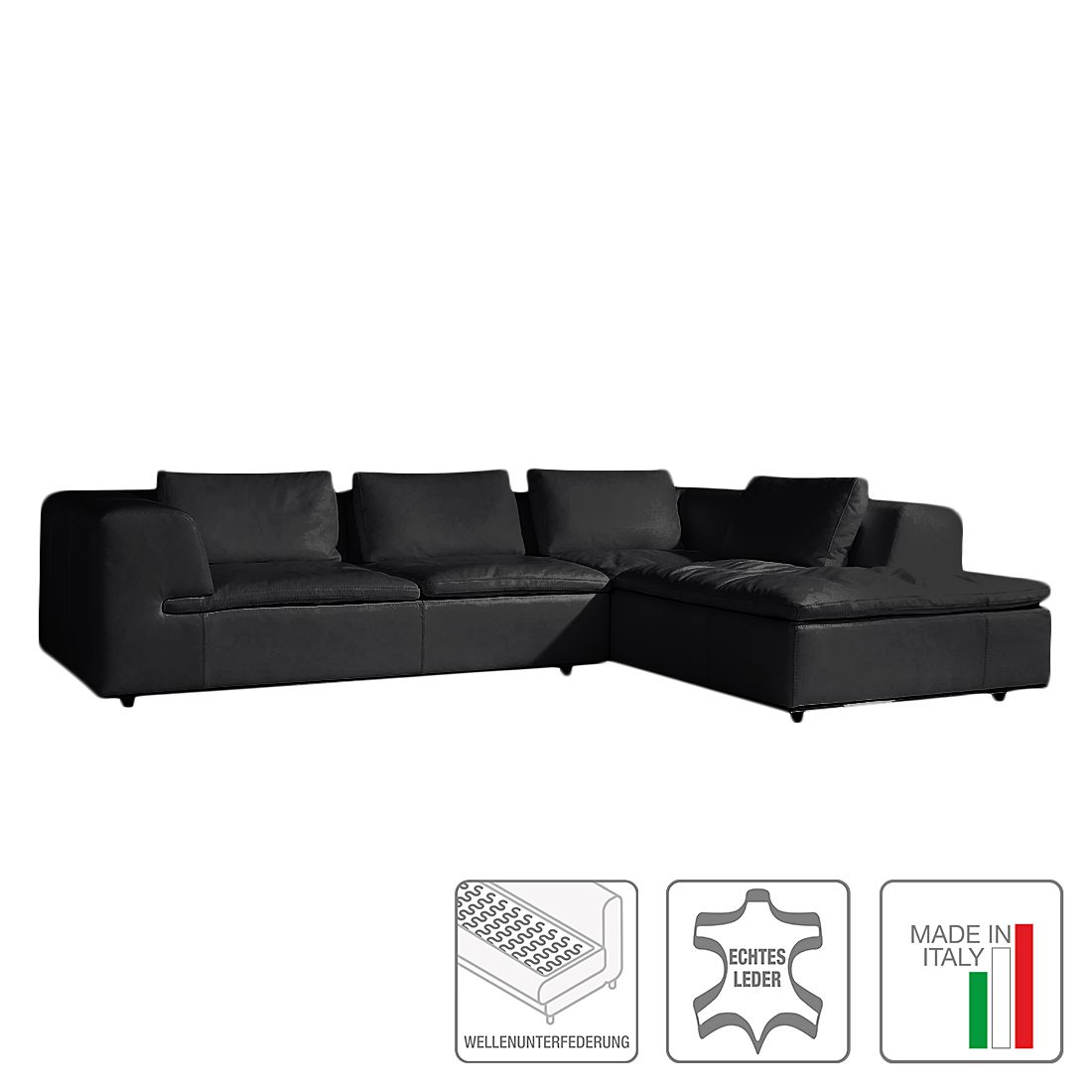 Ecksofa Seneca I – Echtleder – Ottomane davorstehend rechts – Schwarz, Trend Italiano jetzt kaufen