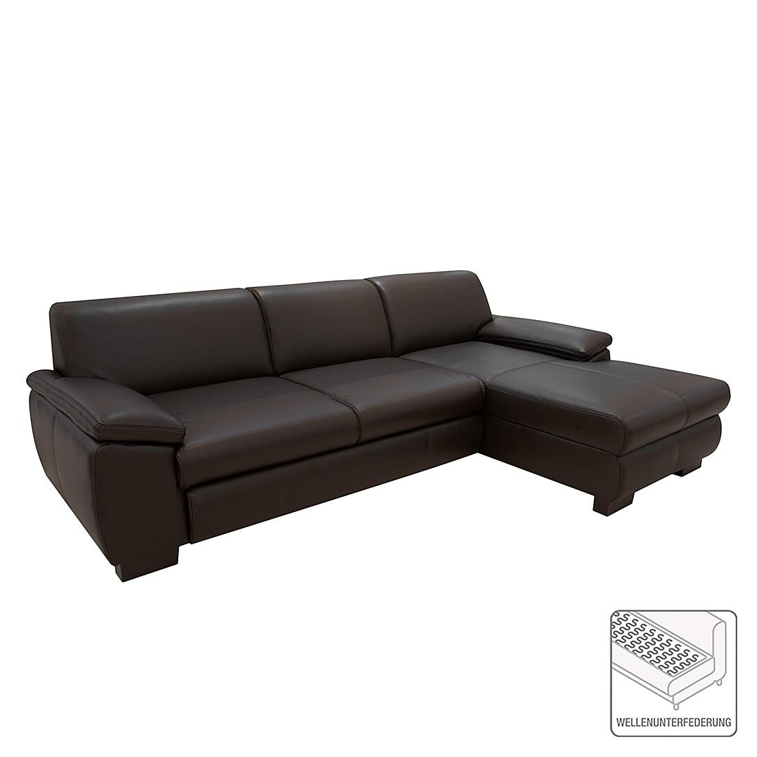 ecksofa shannon mit schlaffunktion kunstleder braun longchair davorstehend rechts. Black Bedroom Furniture Sets. Home Design Ideas