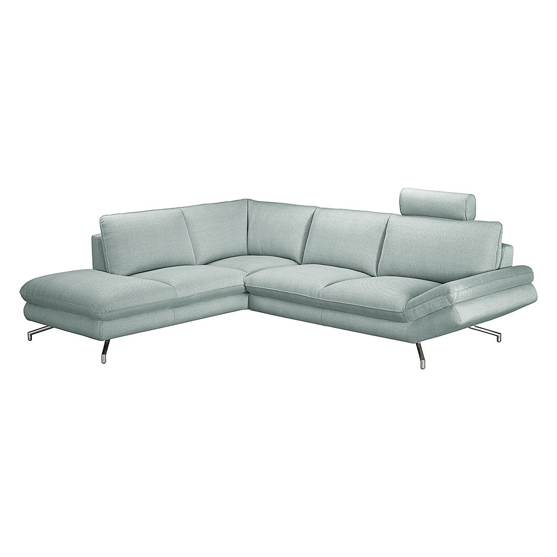 ecksofa sharon strukturstoff hellgrau ottomane. Black Bedroom Furniture Sets. Home Design Ideas