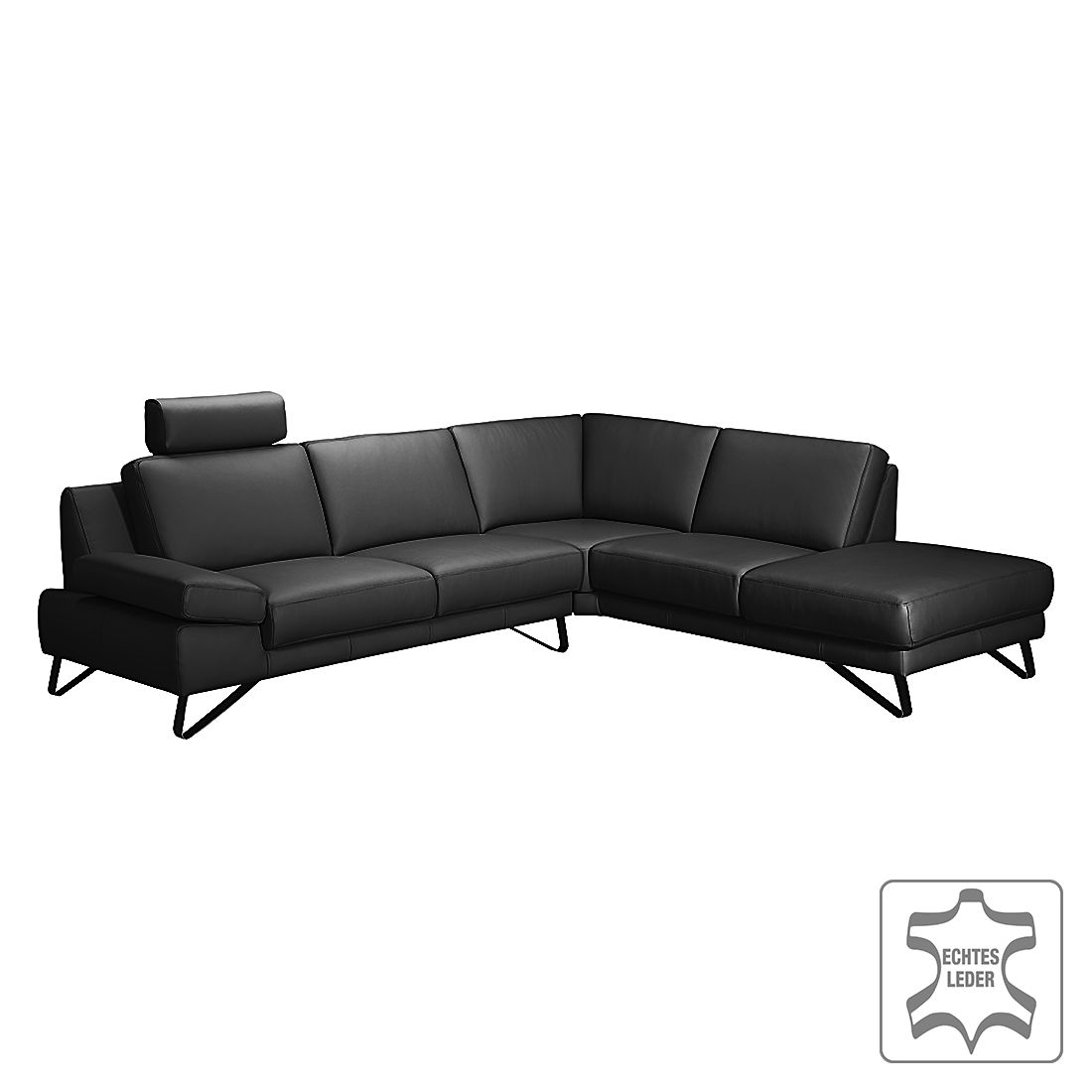 ecksofa silvano echtleder schwarz ottomane davorstehend rechts mit 1 kopfst tze loftscape. Black Bedroom Furniture Sets. Home Design Ideas