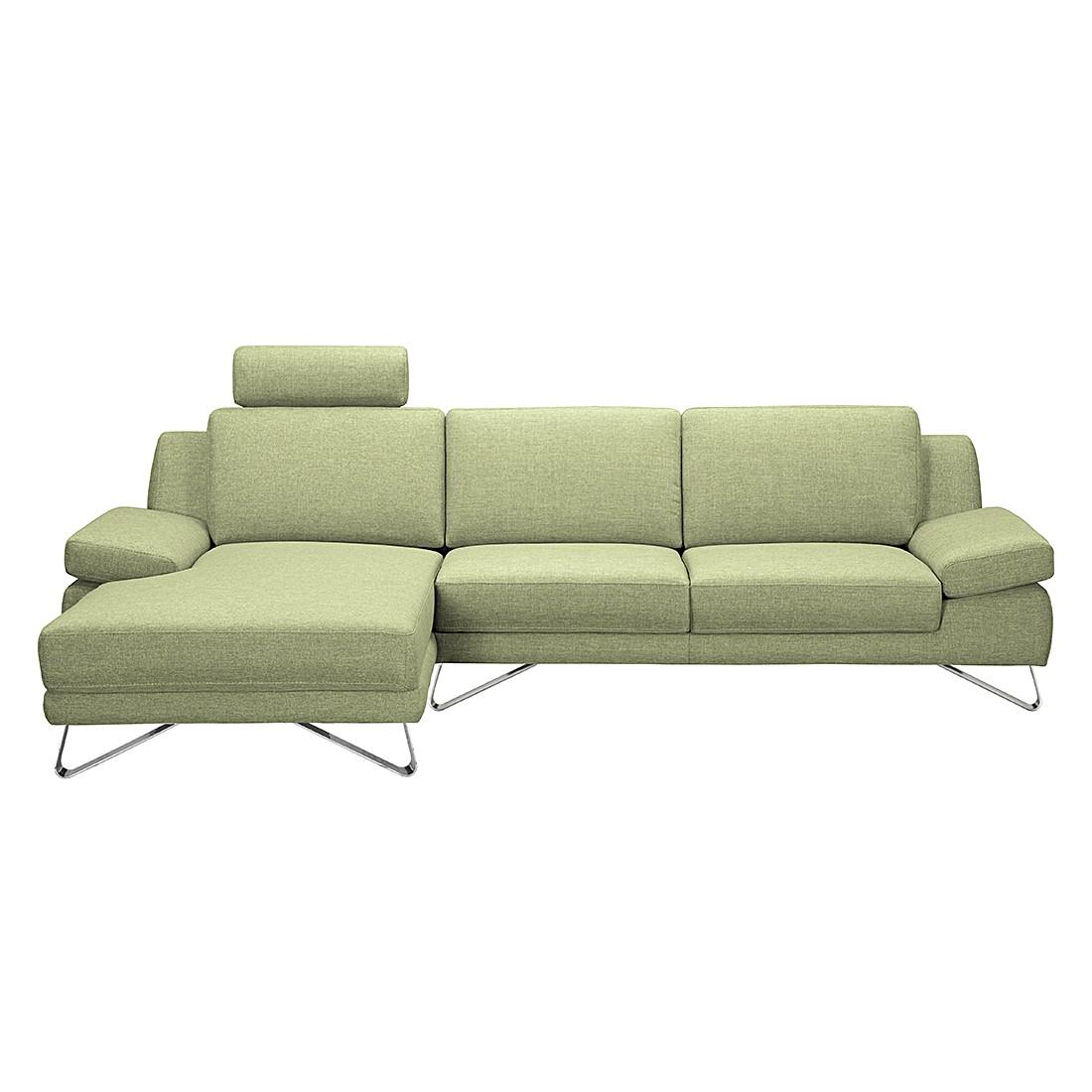 Ecksofa Silvano - Webstoff Grün - Longchair davorstehend links - ohne Kopfstütze, loftscape