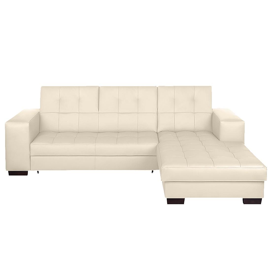 Ecksofa Soliera (mit Schlaffunktion) – Echtleder Beige – Longchair davorstehend rechts, loftscape kaufen