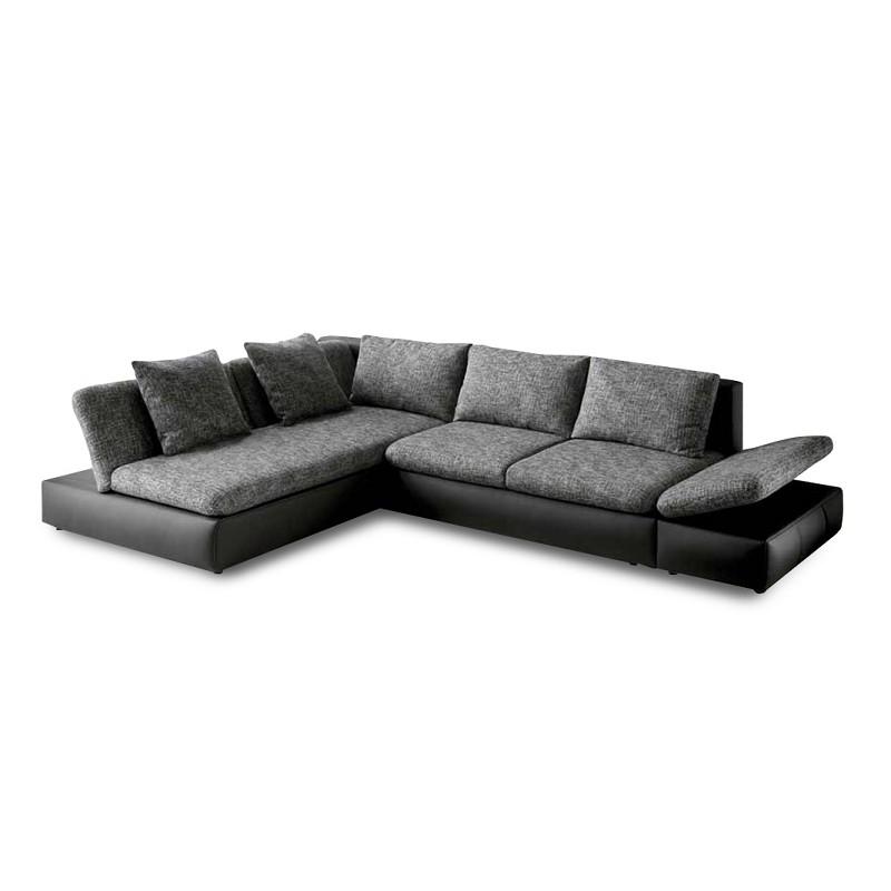 Ecksofa Split (mit Schlaffunktion) - Kunstleder/Strukturstoff - Schwarz/Grau, Home Design
