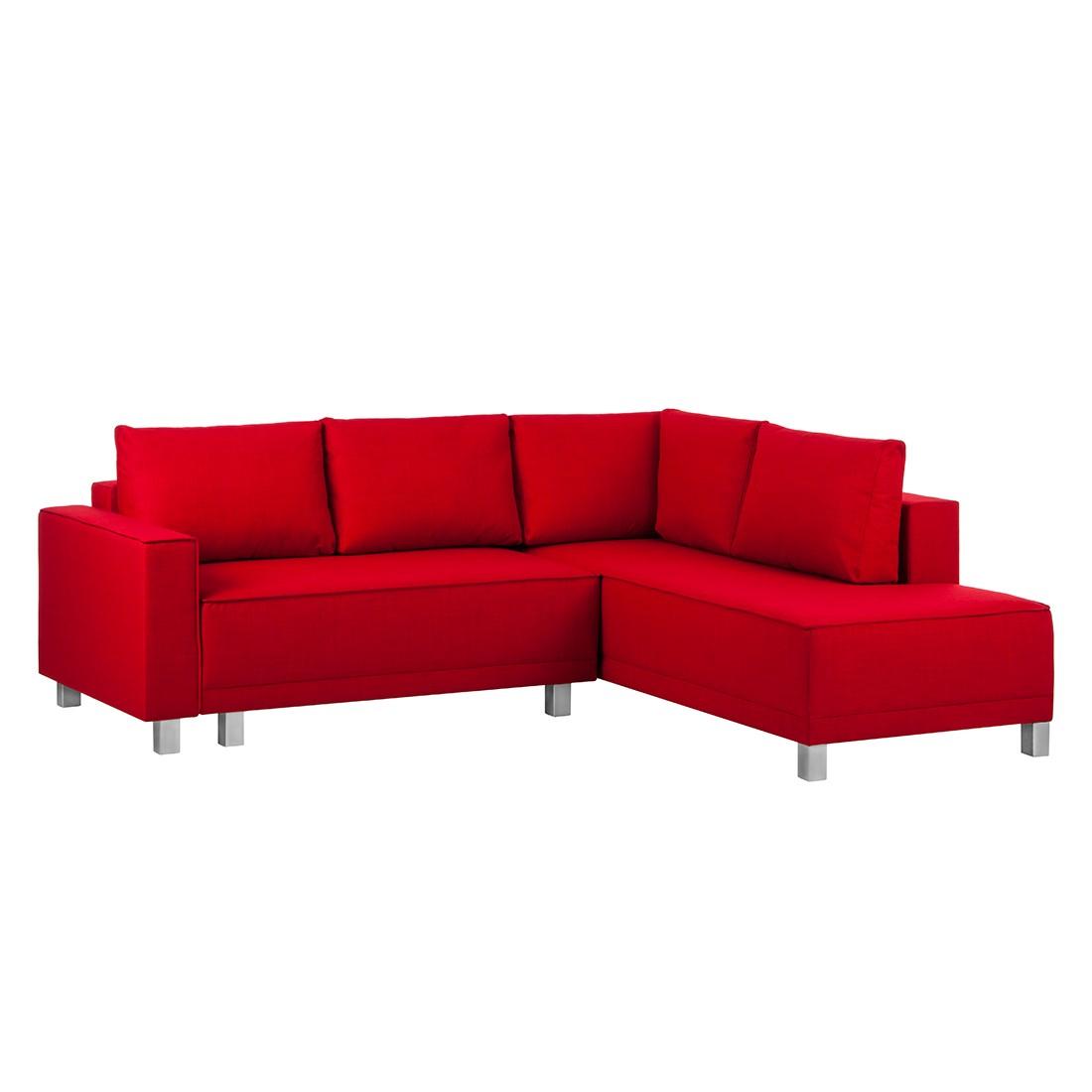 ecksofa stockholm mit schlaffunktion strukturstoff rot ottomane davorstehend rechts. Black Bedroom Furniture Sets. Home Design Ideas