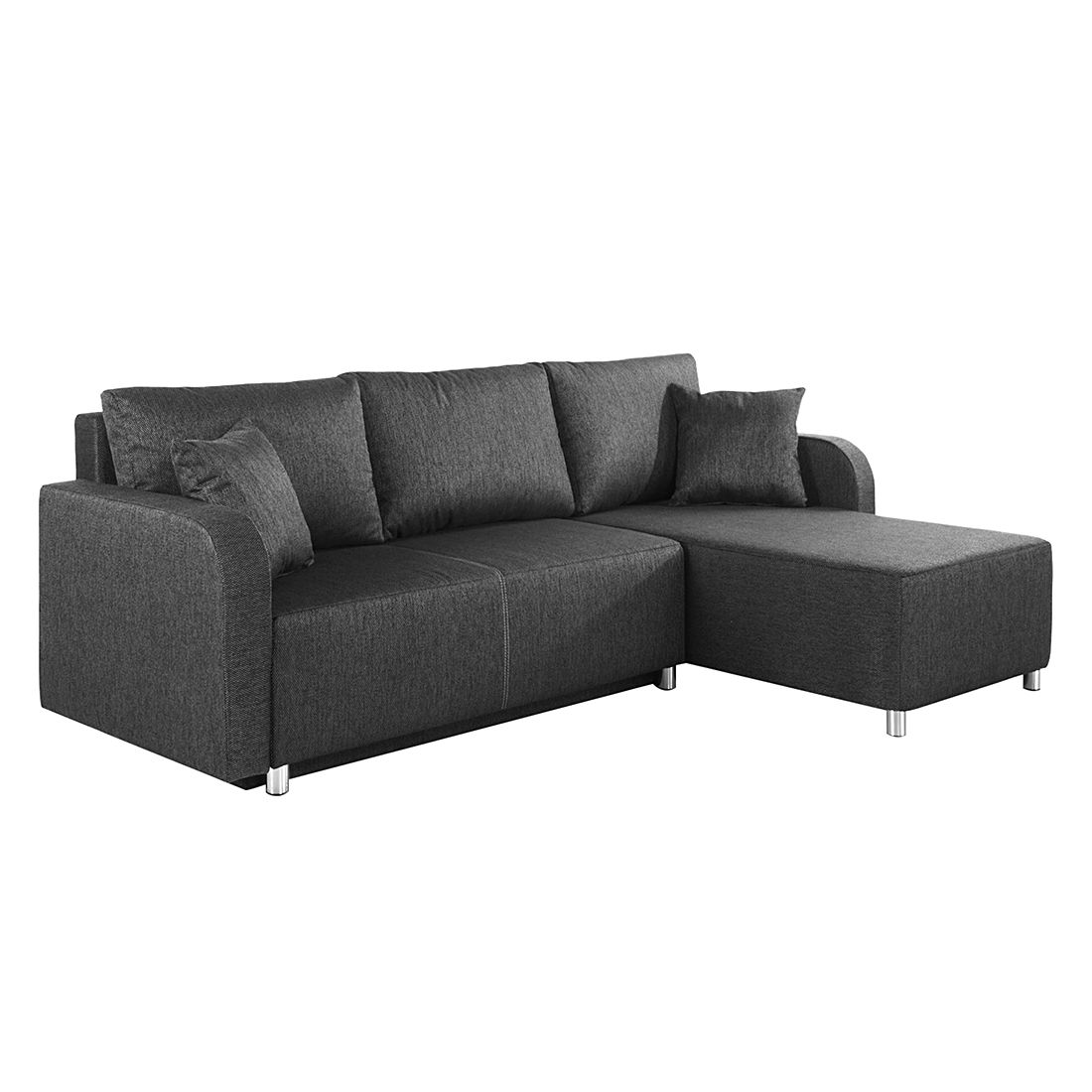 ecksofa tetony mit schlaffunktion webstoff grau ottomane beidseitig montie ebay. Black Bedroom Furniture Sets. Home Design Ideas