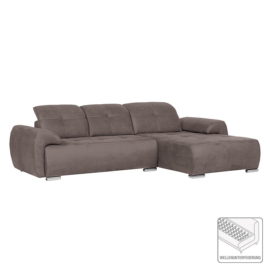 ecksofa lester microfaser longchair davorstehend rechts braun furnlab online bestellen. Black Bedroom Furniture Sets. Home Design Ideas