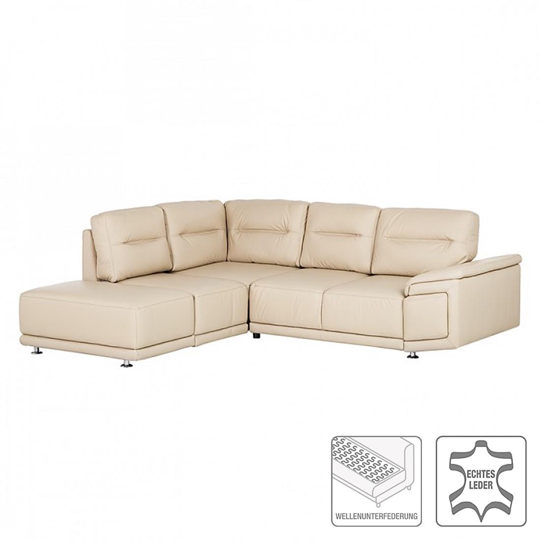 ecksofa torino mit schlaffunktion echtleder beige ottomane davorstehend links nuovoform. Black Bedroom Furniture Sets. Home Design Ideas