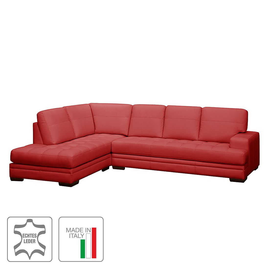 Ecksofa Trapuntato – Echtleder – Longchair/Ottomane davorstehend links – Rot, Trend Italiano kaufen