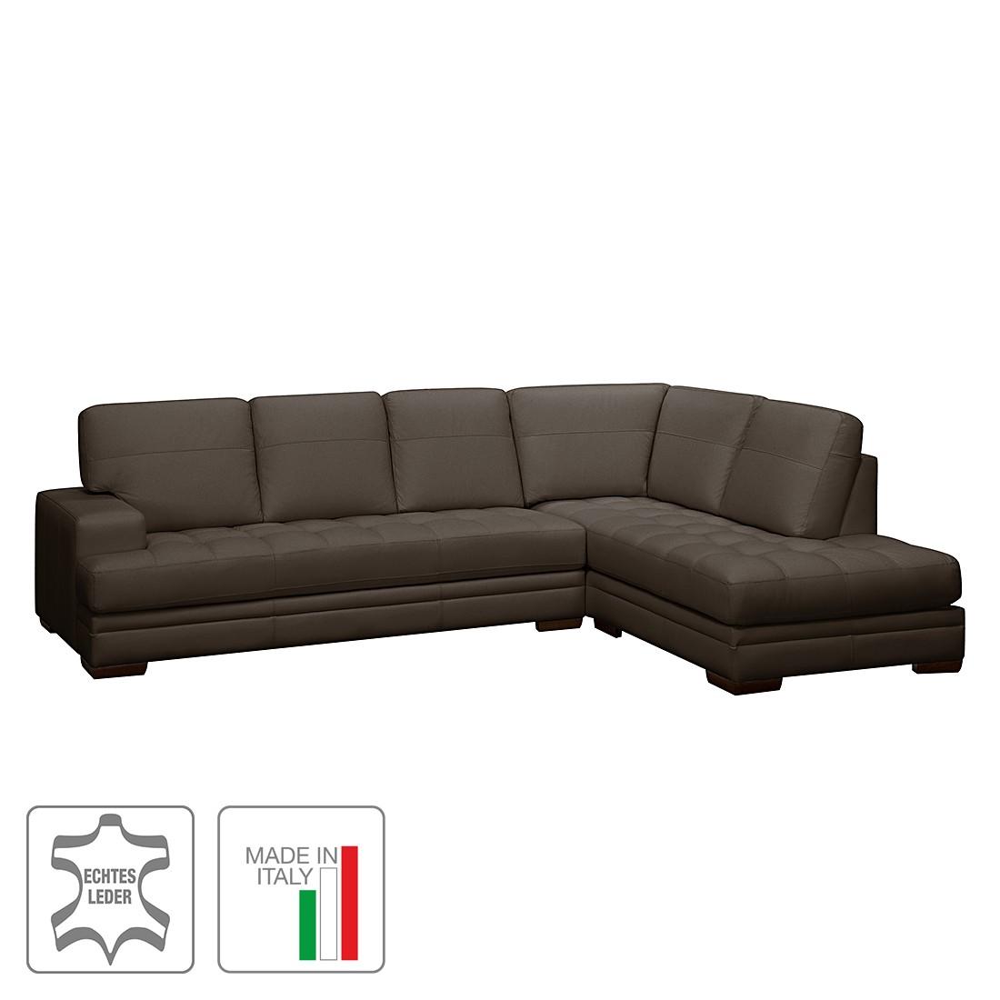Ecksofa Trapuntato – Echtleder – Longchair/Ottomane davorstehend rechts – Dunkelbraun, Trend Italiano jetzt kaufen
