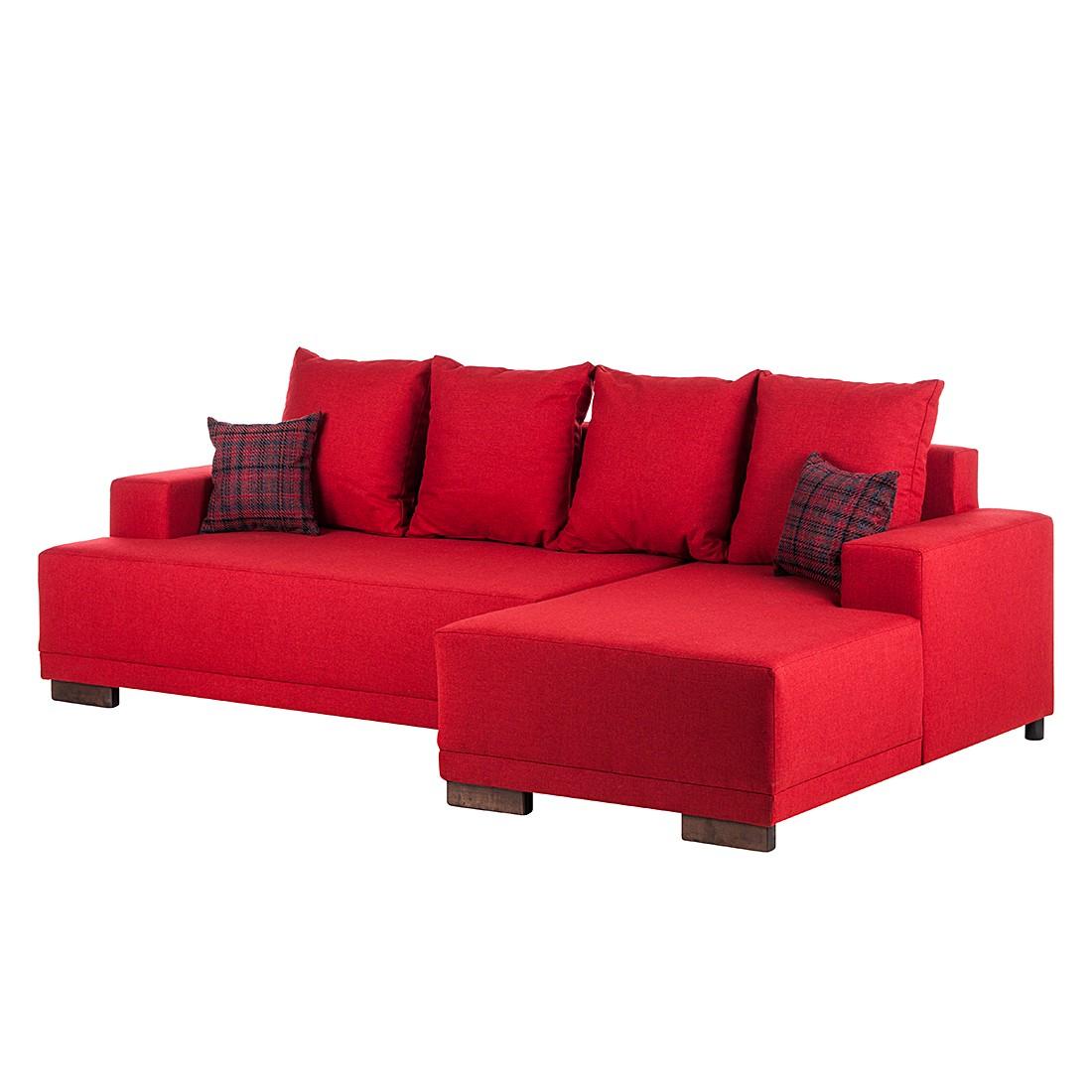 Ecksofa Vittoria (mit Schlaffunktion) – Strukturstoff Rot – Longchair davorstehend rechts, Fredriks jetzt bestellen
