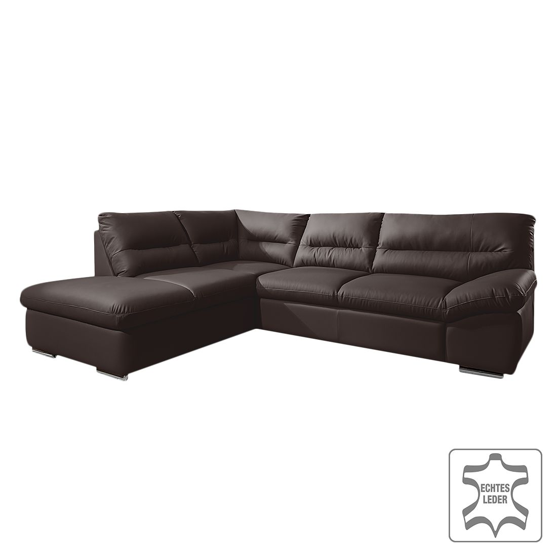 ecksofa doug mit schlaffunktion echtleder dunkelbraun. Black Bedroom Furniture Sets. Home Design Ideas