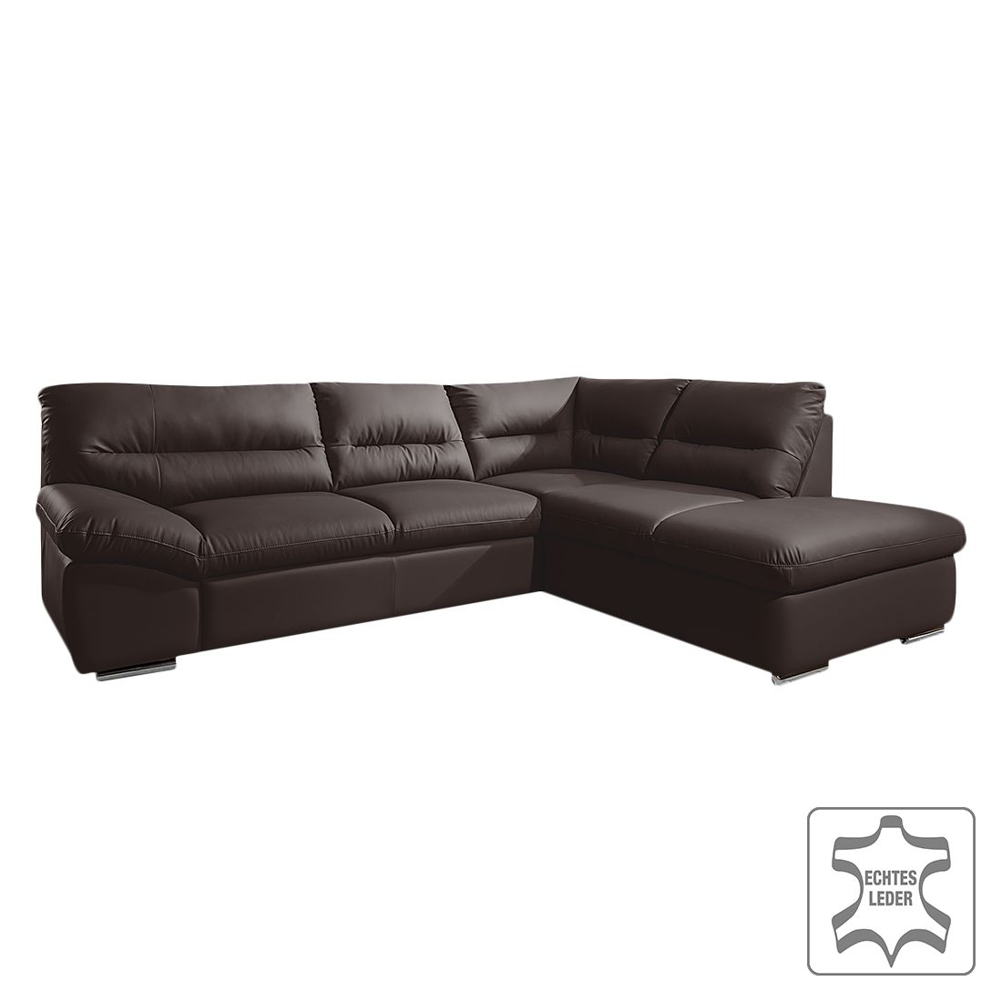 ecksofa torino mit schlaffunktion echtleder schwarz ottomane davorstehend rechts. Black Bedroom Furniture Sets. Home Design Ideas