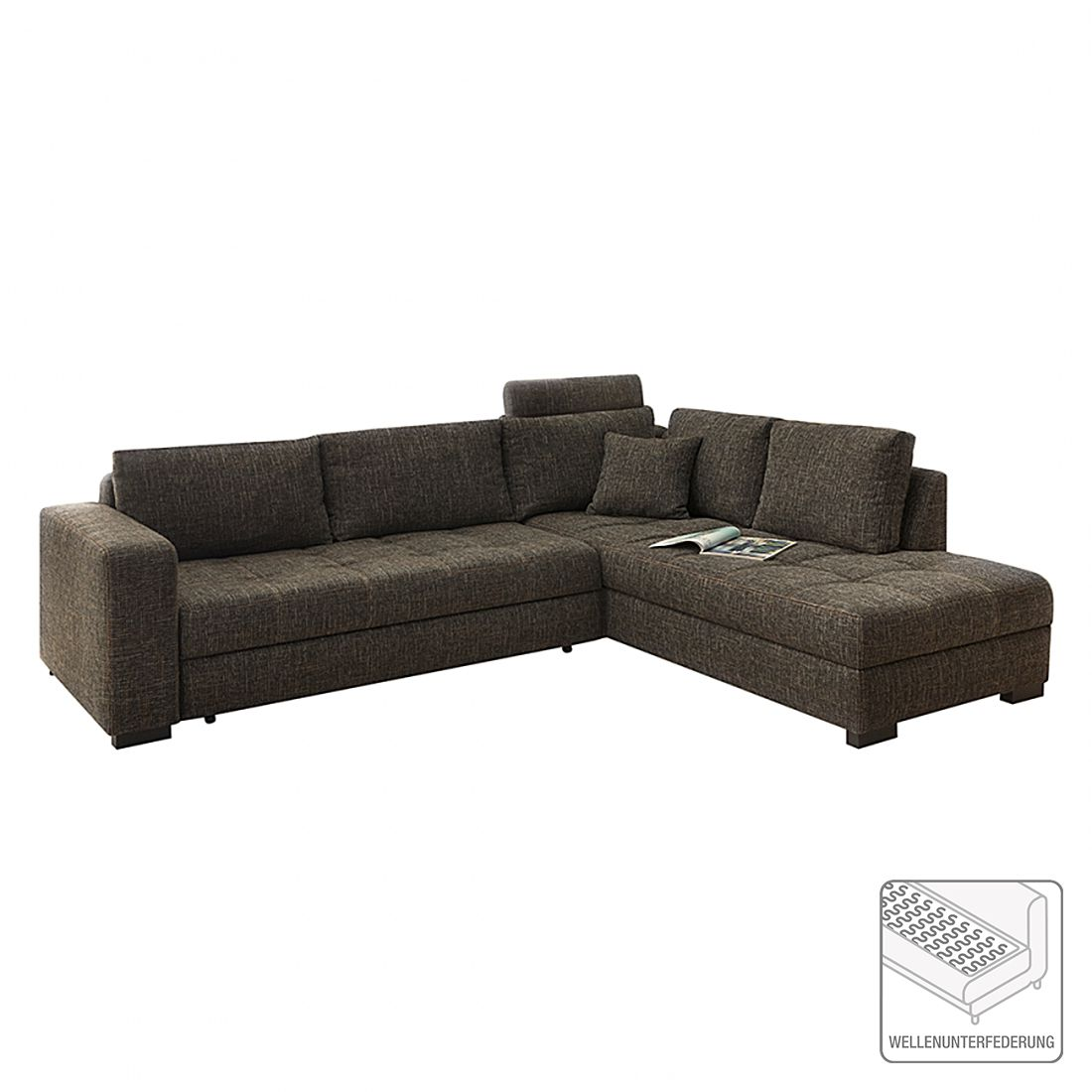 ecksofa willmar mit schlaffunktion strukturstoff braun. Black Bedroom Furniture Sets. Home Design Ideas