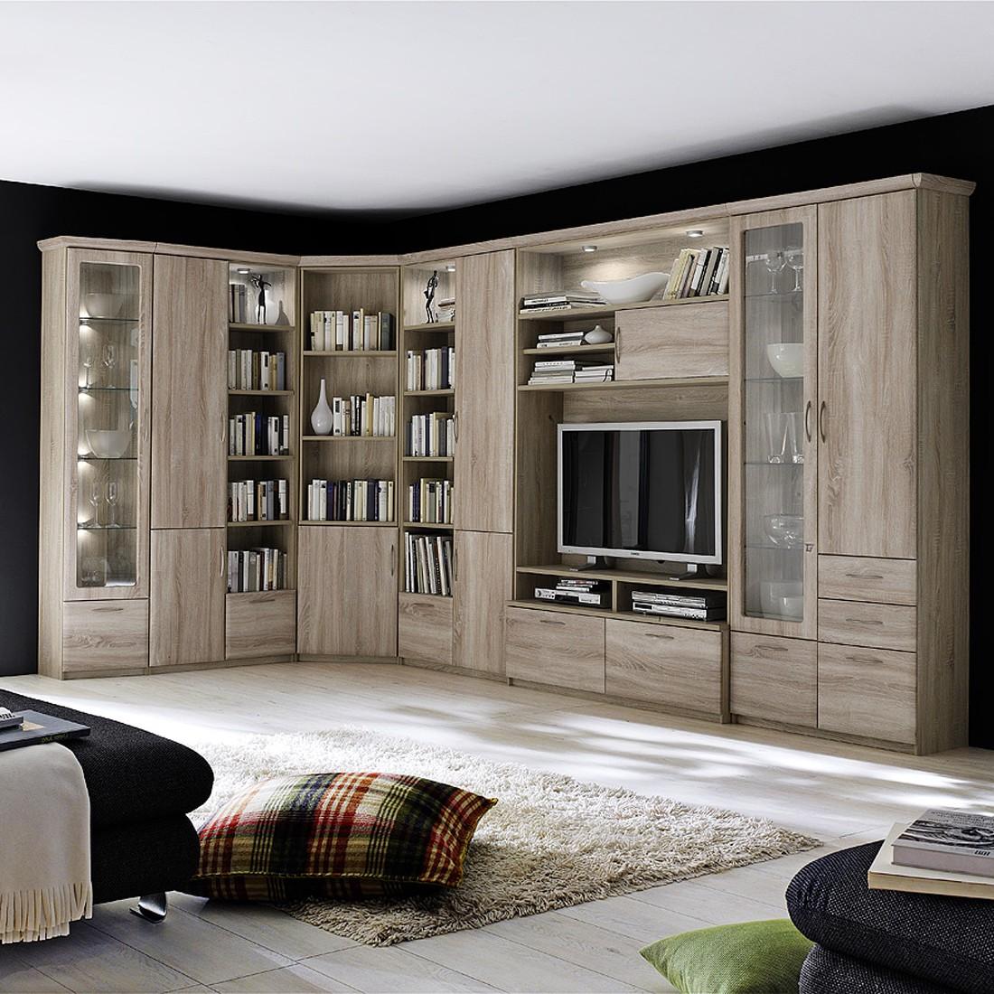 eckwohnkombination brixen mit bareckelement sonoma eiche dekor mit beleuchtung und. Black Bedroom Furniture Sets. Home Design Ideas
